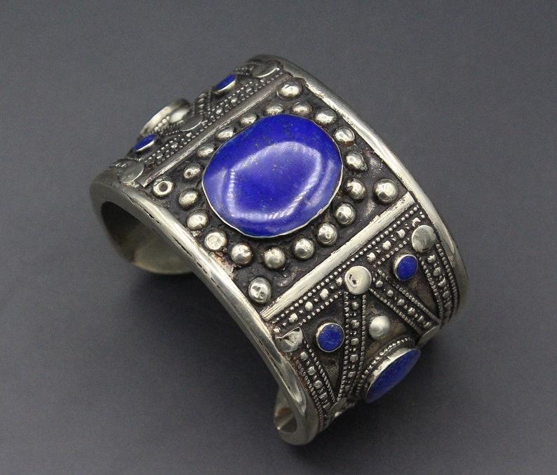 Lapis Lazuli Stone Boho Bracelet Cuff Bracelet Vintage Turkmen Alpaka Bracelet Turkmen Jewelry