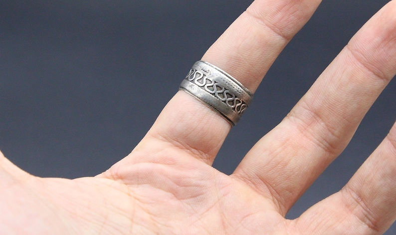 Large Belly Dance Ring Size 9US Boho Costuming Ring Tribal Silver Ring Ethnic Turkmen Afghan Ring Afghan jewelry