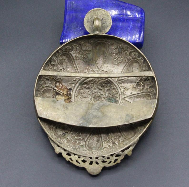 Antique Ottoman Pendant Ottoman Silver Costuming Belt Buckle Pendant Costuming Jewelry Tribal Pendant, Carved Round Large Pendant