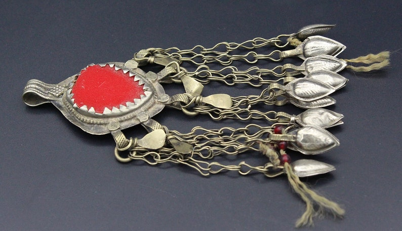 Vintage Pendant Red Glass Beads Pendant Nomadic ethnic Costuming Large Pendant Belly Dance Beads Kuchi Pendant