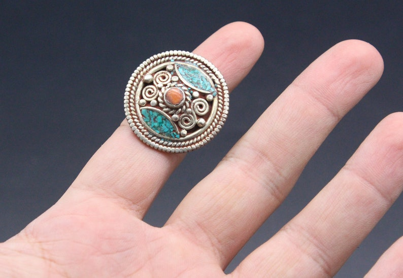 Turquoise /& Coral stones Round Tribal Ring Nepalese Boho Ring Belly Dance Size 8US Vintage Tibetan Jewelry