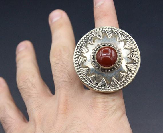 Alpaka Lovely Ring Boho Carnelian Stone Ring Kazakh Traditional Alpaka Ring Size 8US Large Hand Crafted Ring