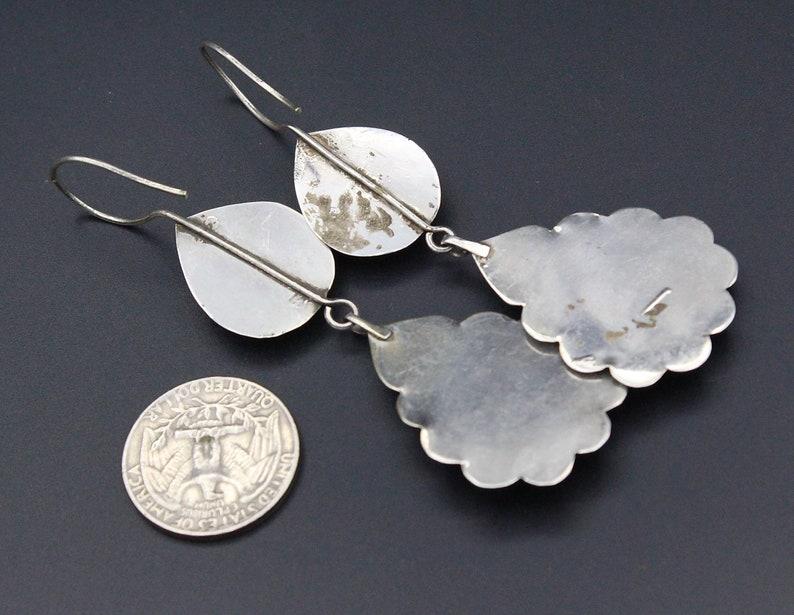 Belly Dance Earrings, Vintage Turkmen Silver Tear-Drop Turquoise Stones Tribal Earrings Classic Earrings