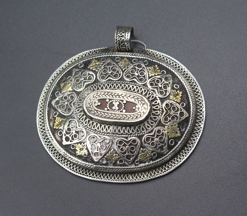 Partial Gold Wash Pendant Kazakh Traditional Silver Oval Pendant Silver Necklace Heart Carved Tribal Pendant