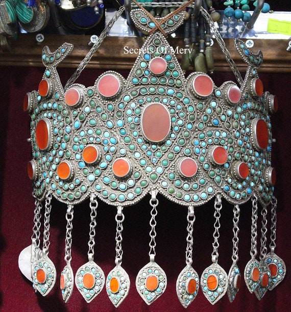 Uzbek Traditional Silver Wedding Crown, Carnelian