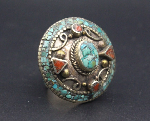 Turquoise /& Coral Stones Oval Ring Boho Style Adjustable Ring Size 7US Nepalese Tibetan Vintage Ring