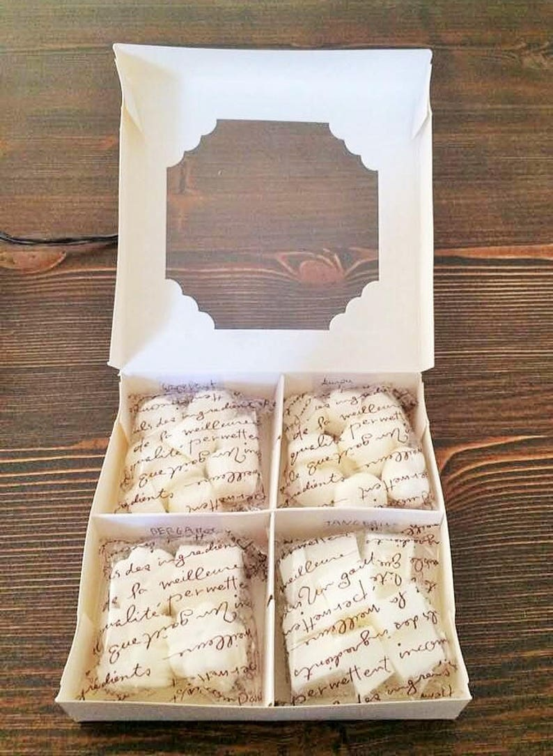 hostess gift. favors highly scented wax melts Eco soy wax melts bridal shower Gift ideas natural essence oil baby shower 4 scents