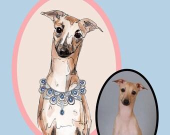 Custom Pet Portrait-Custom Dog Illustration-Giclee Print-Pet Gift- Wall-Dog Lover-Gift- Memorial-Dog Portrait-custom made