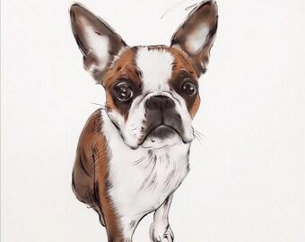 Custom Dog Portrait. Christmas Gift. Custom Pet Portrait. Dog Art. Dog Lovers. Personalised Dog Portrait. Memorial. Custom made gift