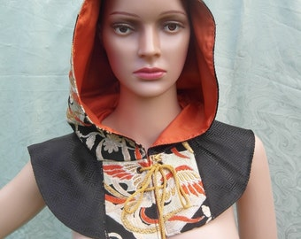 Kimono silk and brocade cowl