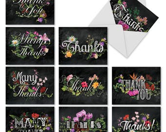 m2988tyg botanical collages 10 assorted thank you note cards