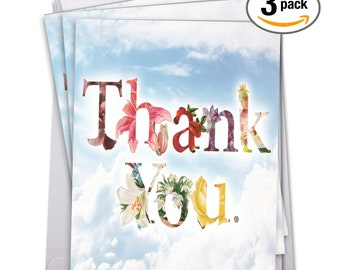 J2359ATYG3 Jumbo Pack of 3 Thank You Cards: Thanks a Bunch, With Envelope