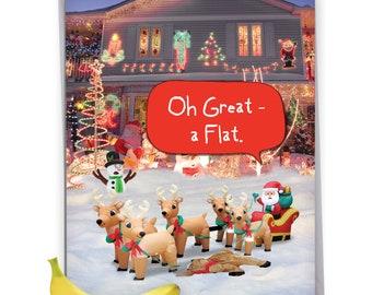 J4288XSG Jumbo Funny Christmas Card: Reindeer Flat, with Envelope