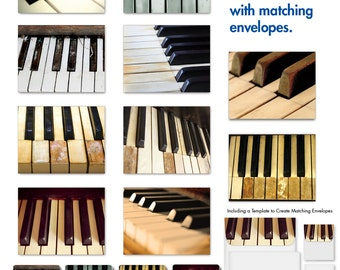 S2016 Keynotes: Digital Download of 10 Assorted Blank Note Cards Feature the Ebony and Ivory Piano Keys, W/Matching Envelopes