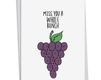 C2975BMYG FUN PUN: Miss You Card Featuring a Fun Cartoon Image Combined with a Clever Pun, with Envelope.