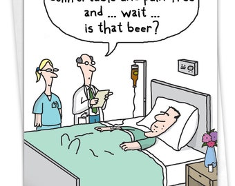NobleWorks - Funny Get Well Soon Card with Envelope - Cartoon Humor, Feel Better Greeting - Beer Drip C7268GWG