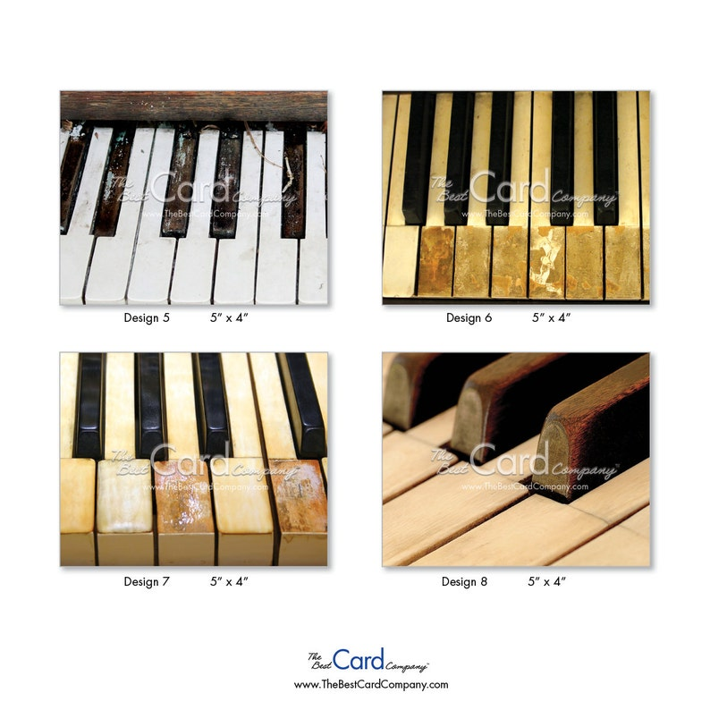 WMatching Envelopes Digital Download of 10 Assorted Blank Note Cards Feature the Ebony and Ivory Piano Keys S2016 Keynotes