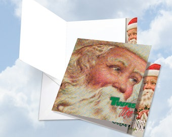 JQ5194LXTG New Jumbo Square-Top Christmas Thank You Card: Abstract Wishes - Twas the Night Ft. Inspired Typography w/ Env.