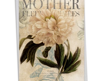 C4605BMDG Painted Peonies - Mother's Day: Mother's Day Card Featuring Collage-Style Florals with Vintage Background Image, with Envelope.