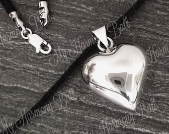 Sterling Silver Heart Polished Harmony Ball, .925 Sterling Silver, Bola Ball, Chime Bell, Angel Caller, Bola Bell, New Mom, Mom to Be Gift