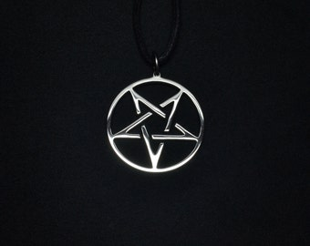 Inverted pentagram etsy inverted pentagram pendant pentacle necklace logo symbol satan aloadofball Choice Image