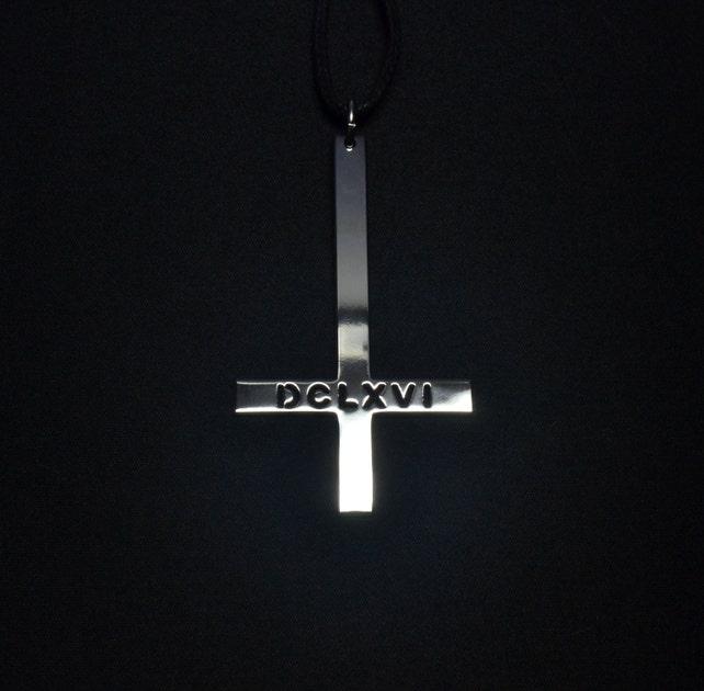 Inverted Cross Pendant 666 Necklace Dclxvi Logo Symbol Satan Etsy