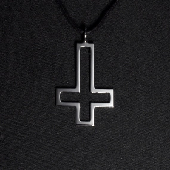Upside Down Cross Pendant Necklace Satanic Cross Inverted Etsy