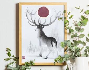 Original Sumi-e Deer Painting - Home Decor - Wildlife Illustration - Modern Art - Sumi-e Japanese Style
