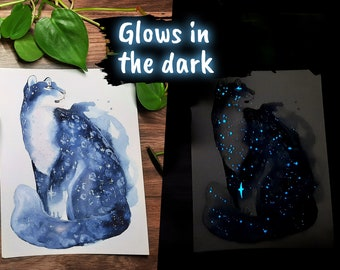 Original Glow-in-the-Dark Snow Leopard Painting - Home Decor - Luminescent Illustration - Modern Art - Space art
