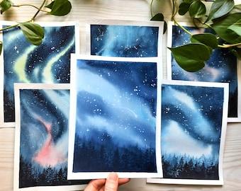 Original Northern Lights Watercolor Paintings - Home Decor - Modern Art - Space art