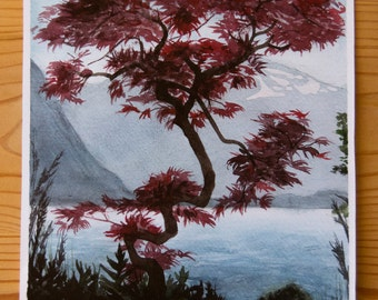 A4 Red Tree Landscape Print