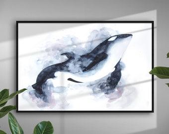 Original Galaxy Orca Painting - Home Decor - Wildlife Illustration - Modern Art - Space art - Underwater Sea Animal