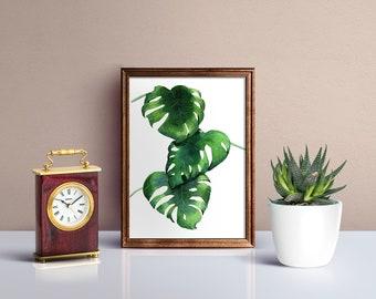 Original Monstera Deliciosa - Watercolor Painting - Tropical Leaves - Home Decor