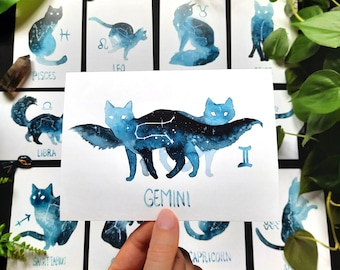 A6 Zodiac Cats Cards - Watercolor Print - Astrological Signs - Constellations