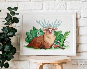 Deer God - Original Watercolor Painting - Home Decor - Modern Art