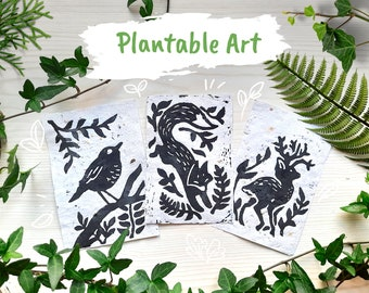 Plantable Art - Linocut Print - Growing Paper - Animals and Nature