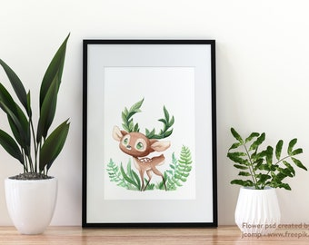 Spring Fawn - Watercolor Illustration - Nature and Animals