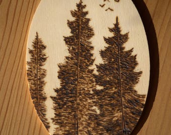 Pine Trees Woodburning