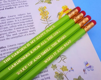 Gardener gift gardening quote pencils stocking filler / stocking stuffer funny pencils weed it & reap gift for a gardener 5 pound gift