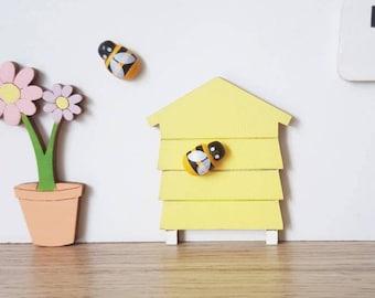 Fairy door beehive with 2 mini bees - fairy door accessory fairy bee hive fairy door extra pretend play elf door miniature fairy house