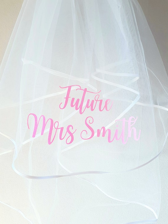 Personalised Hens Night Veil choice of text colour Future Mrs