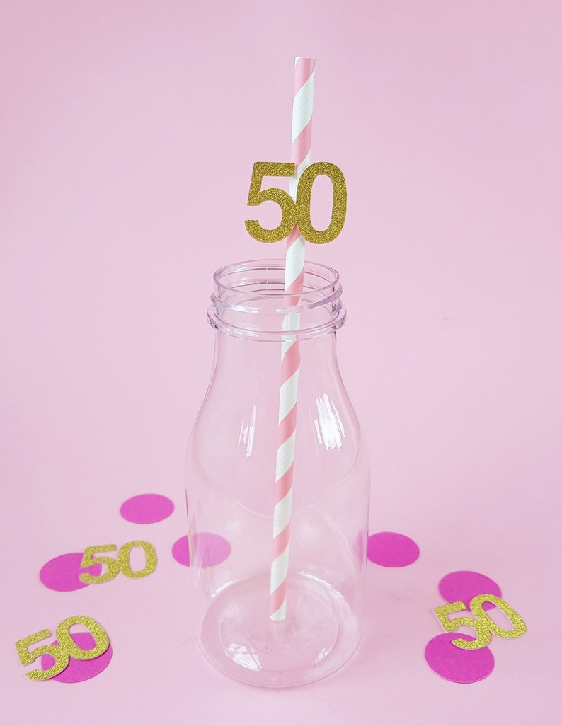 50th Birthday Party Straws 12 Pack Fifty Accessories