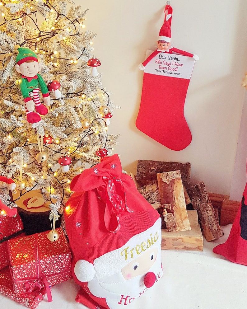 Elf Personalised Christmas Stocking Xmas Stocking Christmas Decoration Children S Christmas Gift Wrap Children S Stocking Tree Decor