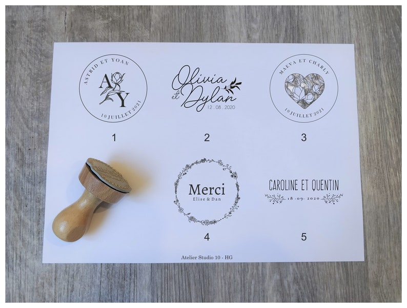 Personalized wedding stamp with your first and last names and wedding date,  customizable vintage wood stamp, HG model