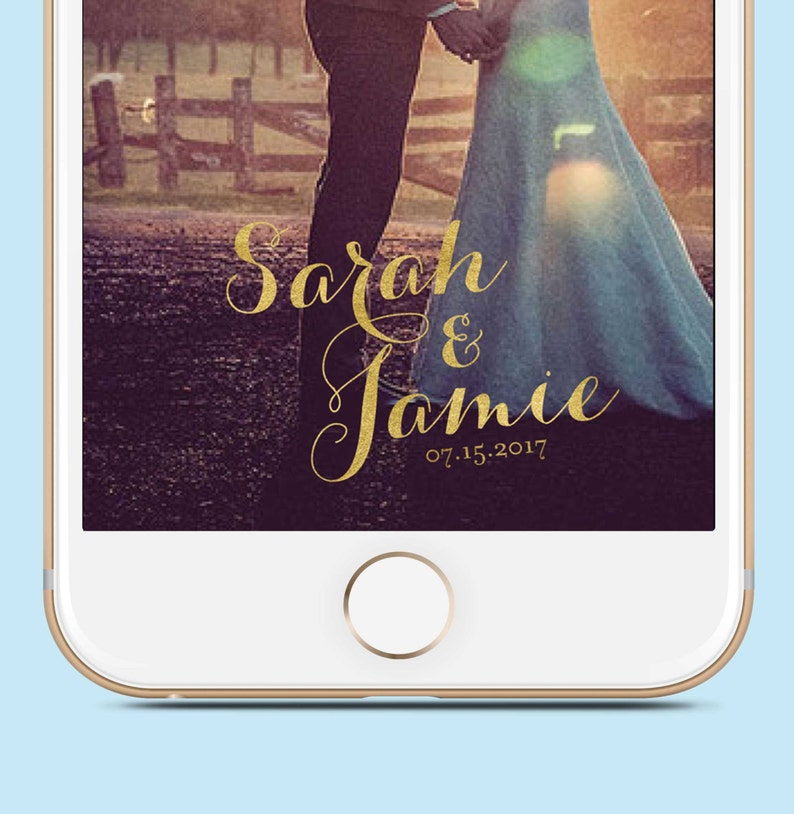 Gold Cursive Wedding Snapchat Filter Names and Date SFW1010 image 0