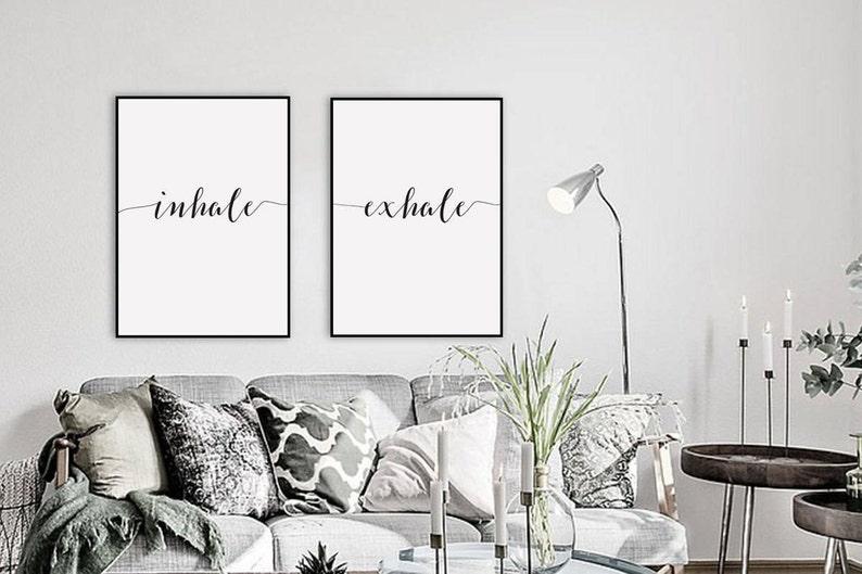Inhale Exhale Print Yoga Wall Art Printable Art Pilates image 0