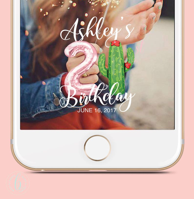 21st Birthday Snapchat filter Gift Cactus 21st Birthday Gifts image 0