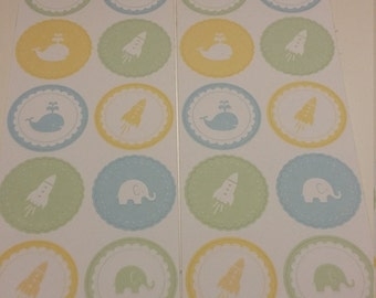 "Martha Stewart Round Icon Stickers ""Boy"", new"
