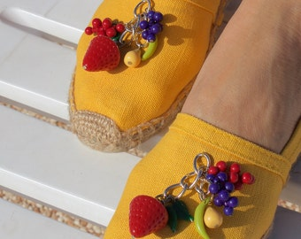Yellow hand made espadrilles Size 38 / US Size 7