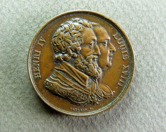 Vintage Henri IV and Louis XVIII circa 1820 by Gayrard Medal